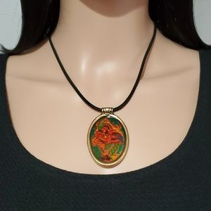 Chico's Enamel Flower with Leather Cord Necklace